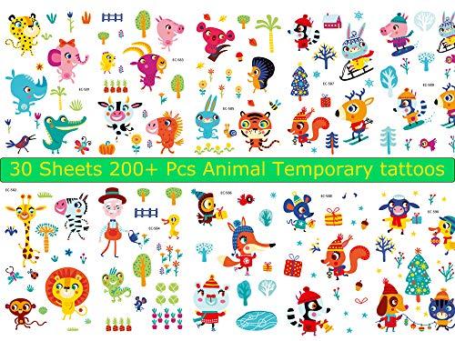 Medeer 30 Sheets Animal tattoos Temporary Stickers, tattoos
