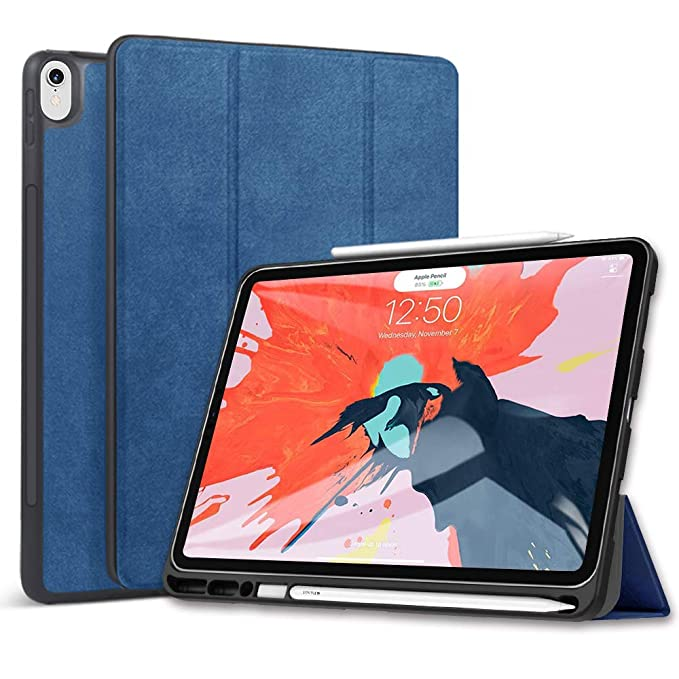 Wonzir New iPad pro 12 9 2018 Generation Case with Apple Pencil Holder,  Slim Lightweight Stand Protective Cover with Auto Wake/Sleep for iPad pro  12 9
