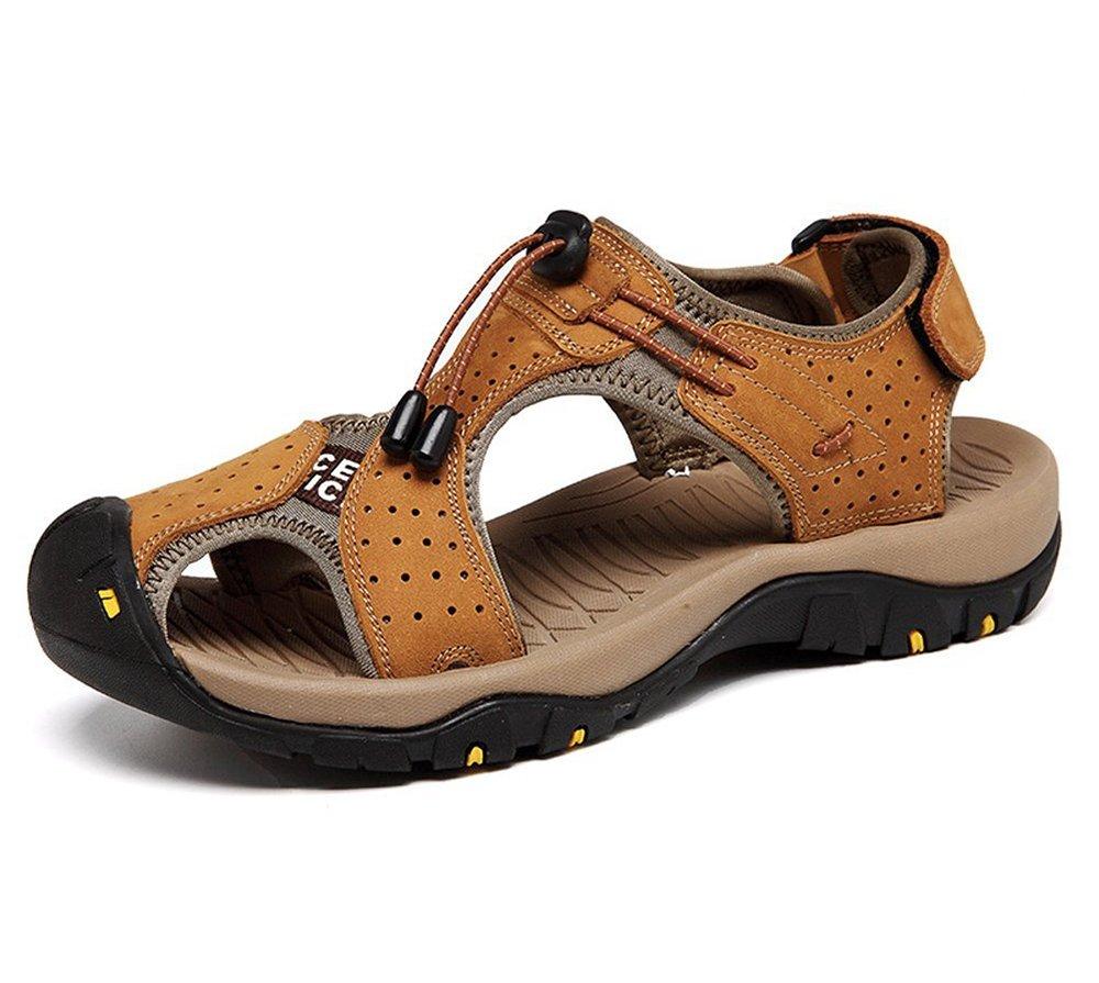 Huateng Sommer Neue Outdoor Männer Strand Schuhe Leder Freizeitschuhe Koreanische Atmungsaktive Closed Toe Leder Sandalen Baotou Rutschfeste Hellbraun