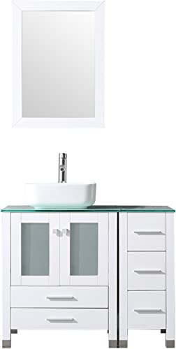 Walcut White 36 White Bathroom Vanity and Sink Combo Wood Vanity Cabinet Ceramic Vessel Sink