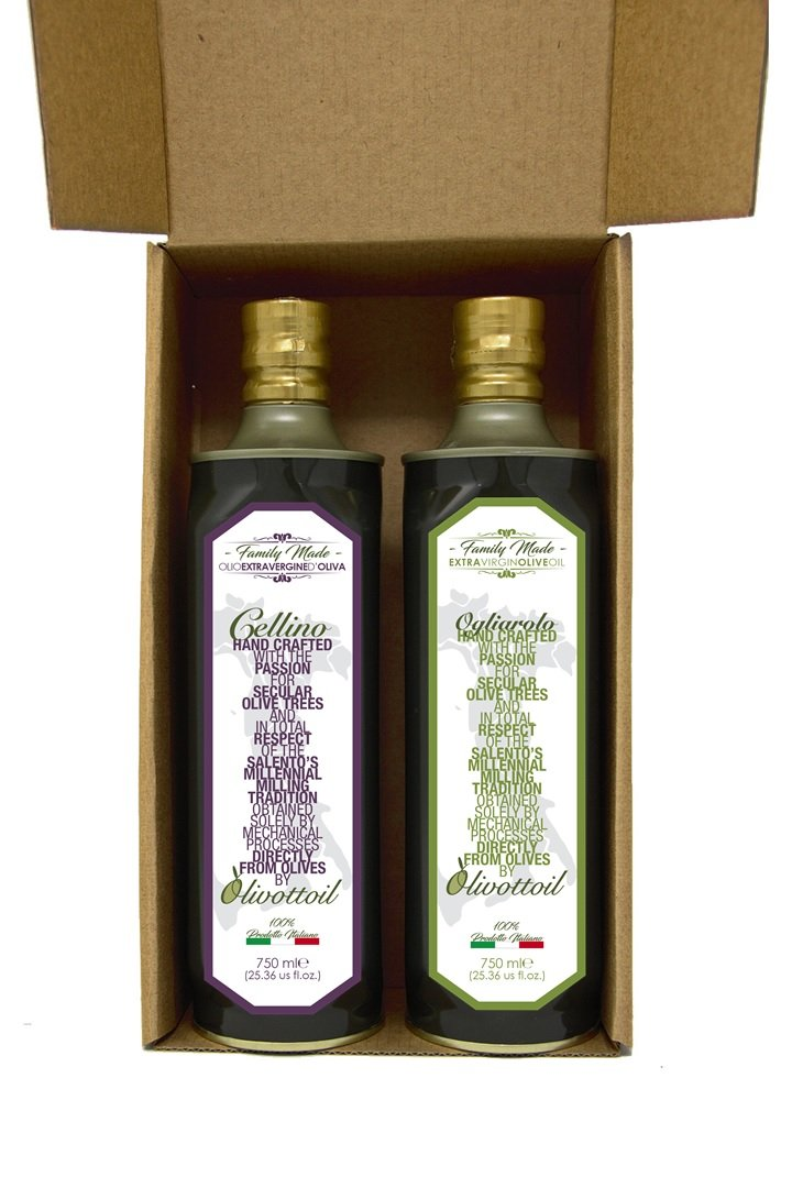 Olivottoil New 2018 Harvest Italian Extra Virgin Olive Oil Cellino & Ogliarolo pack