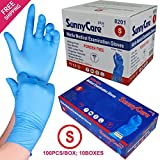 SunnyCare #8201 1000/1cases Blue Color Nitrile Medical Exam Gloves Powder Free (Latex Vinyl Free) Small
