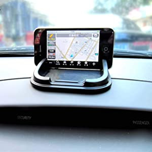 Anti-Slip Car Dash Sticky Gel Pad Non-Slip Universal Mount Holder Mat Compatible with Keychains/Cell Phone/iPhone X/XS/XS Max/XR/8 Plus/7/6S/Samsung Galaxy S10/S10 Plus/S10e/S9/S9+