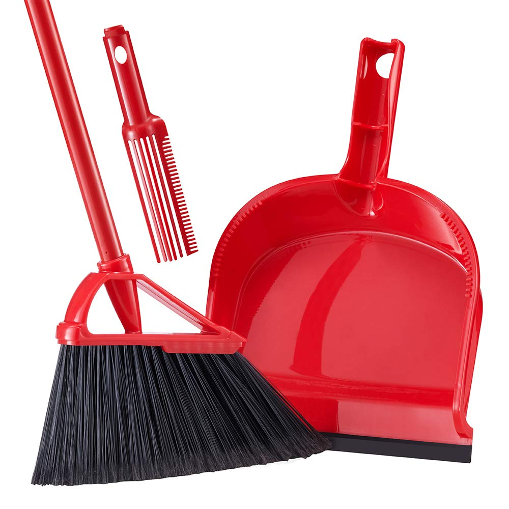 Tiumso Broom Dustpan Set with Comb Teeth SB032 Anti Static Expandable Brooms Dust Pan Warehouse Broom Lobby Broom Set Sweeping Set 55'' Long Handle Red