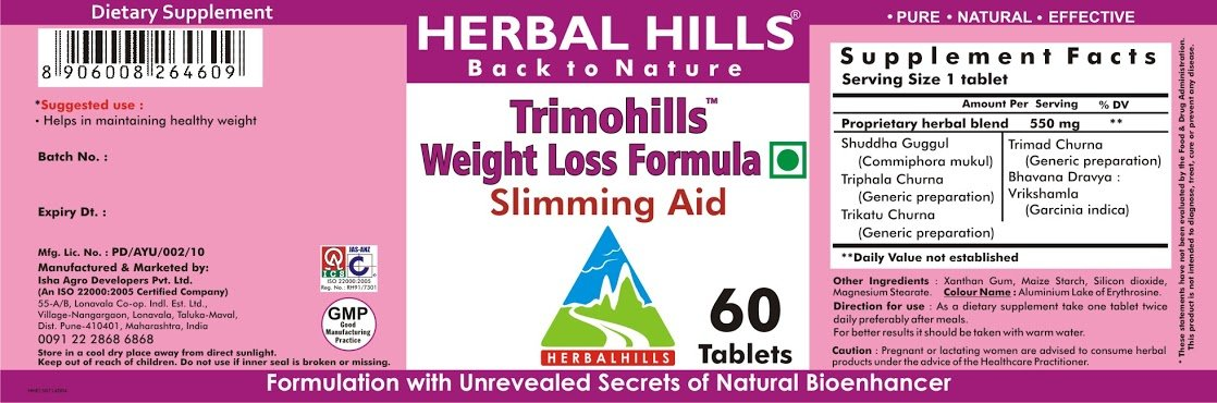 Amazon.com: Herbal Hills trimohills 60 comprimidos – Fórmula ...
