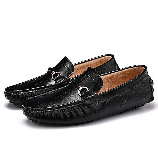 Xiazhi-shoes, Mocasines de conducción de Moda Casual de los Hombres Mocasines de Barco de Cuero Genuino de Tela Escocesa de Color sólido Impresa a Mano, ...