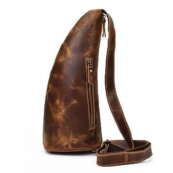 83e17af1b1f65 Herren Vintage Echtes Leder Sling Bag Brust Schulter Rucksack Umhängetasche  für Männer Frauen (Brown 3