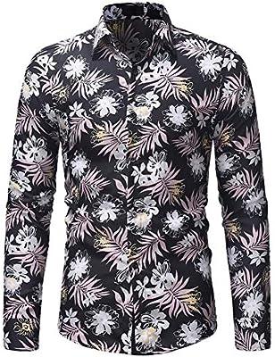 SFHK Hombre Moda Manga Larga Casual Flor Imprimiendo Camisa,XXL: Amazon.es: Deportes y aire libre