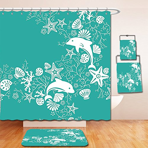 Nalahome Bath Suit: Showercurtain Bathrug Bathtowel Handtowel Teal Sea Animals Decor Dolphins and Flowers Sea Floral Pattern Starfish Coral Seashell Wallpaper Pattern Art Teal White (Feather Starfish For Sale)