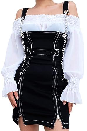 f7cbb3d30a3 Vepodrau Women Overall Dress Zip Up Denim Bodycon Dresses with Chain ...
