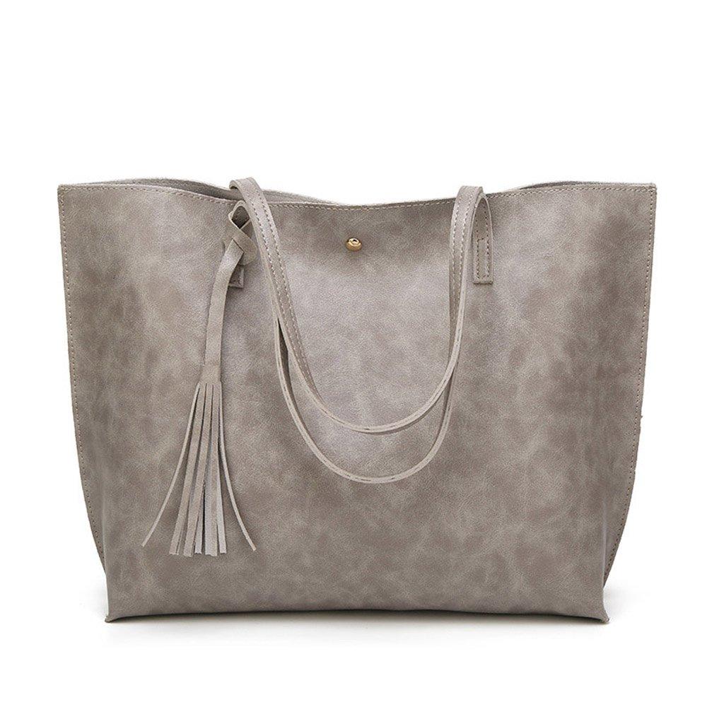 XBER Women Designer Handbags Tote Bags Ladies Top Handle Satchel Shoulder Bag (LightGray)