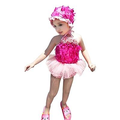 Baby Girls 3 Pcs Cute Flowers Swimsuit Tankinis Beach Bathing Swimwear with Hat