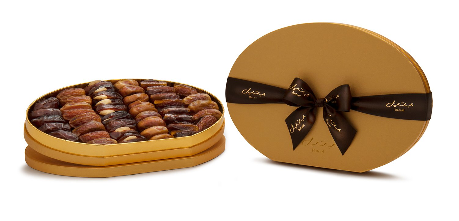 Gold Oval Gift Box with Gourmet Stuffed Dates (42 Pieces)