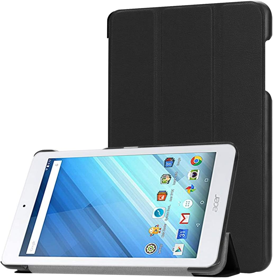 ZENGMING Tablet PC Case Cover for Acer Iconia One 8 B1-860 Tablet Tri-Fold Custer Texture Horizontal Flip PU Leather Protective Case with Holder (Black) (Color : Black)