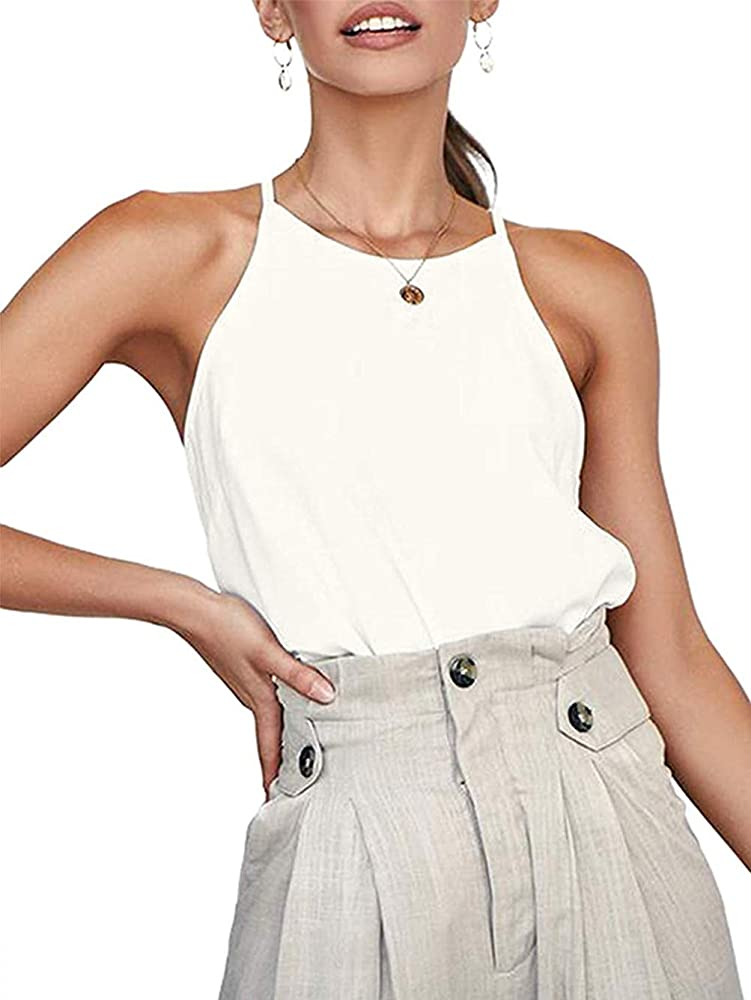 iChunhua - Camiseta de manga larga para mujer, cuello halter, algodón, sin mangas, lisa, talla S-XL Blanco blanco S: Amazon.es: Ropa y accesorios