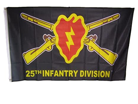AES 3x5 25th Infantry Division Tropic Lightning Knitted Nylon Premium Flag  3'x5' House Banner Double Stitched Fade Resistant Premium Quality