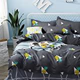 Pineapple Duvet Cover Set, 100% Soft Cotton Bedding, Yellow Pineapple Fruit Pattern Printed on Gray Grey, Great Gift for Girls Boys Kids Teens (3pcs, Twin Size)