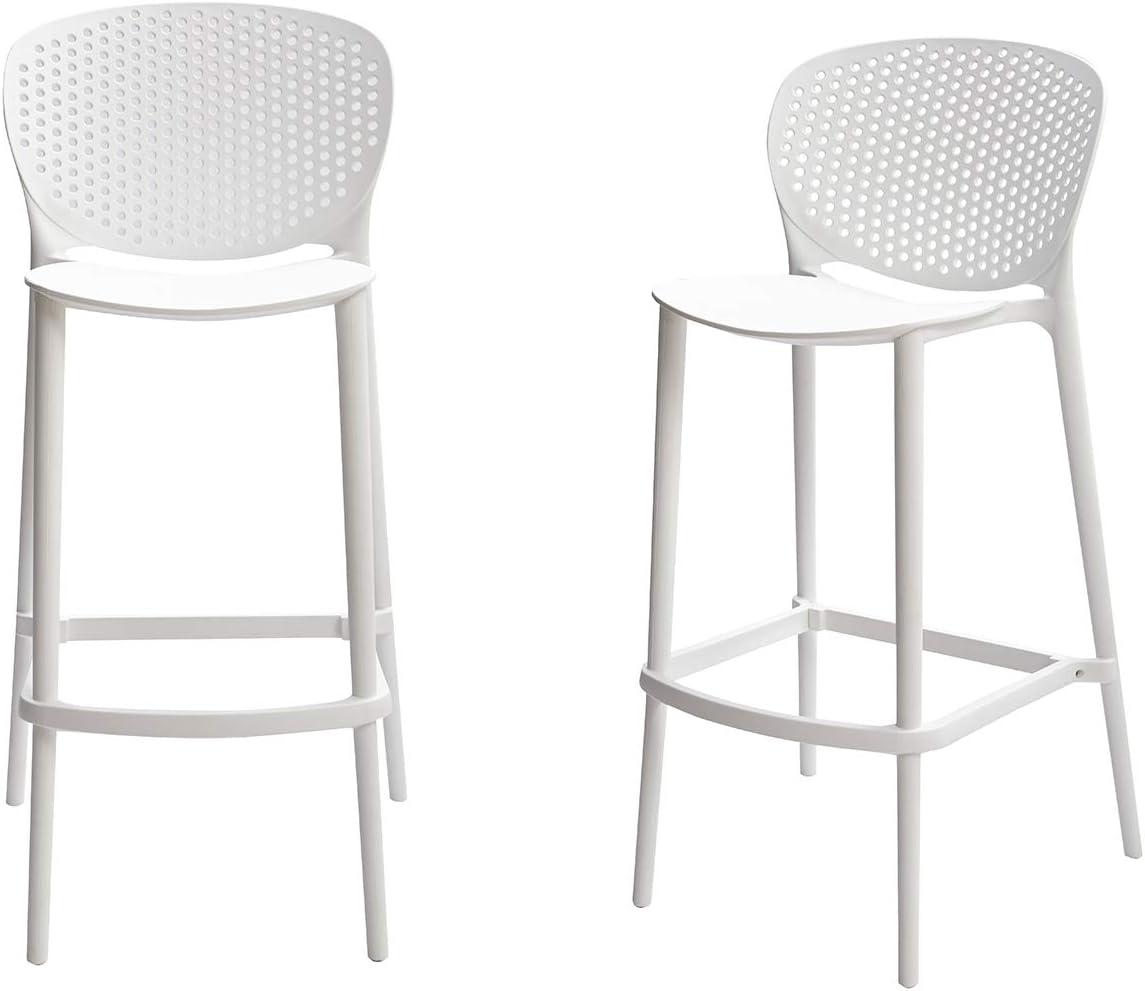AmazonBasics, White, Solid-Back Barstool-Set of 2, Premium Plastic
