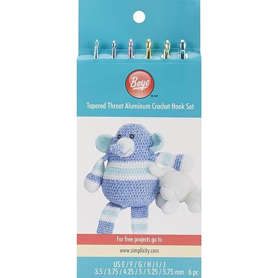 Amazon.com: Boye Aluminum Crochet Hook Set, Sizes E4 To J10