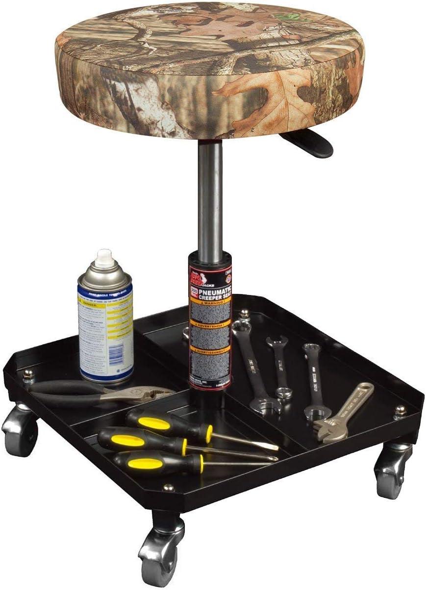 Mossy Oak Camo Padded Adjustable Mechanic Stool Renewed Torin Big Red Rolling Pneumatic Creeper Garage//Shop Seat