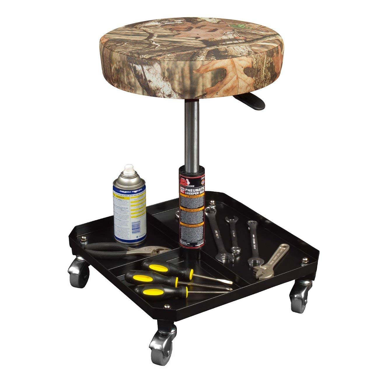Torin Big Red Rolling Pneumatic Creeper Garage//Shop Seat Padded Adjustable Mechanic Stool Renewed Mossy Oak Camo
