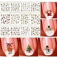 Fashionclubs Christmas Snowflake Snowman 3D DIY Nail Art Stickers,12 Sheets Random Color