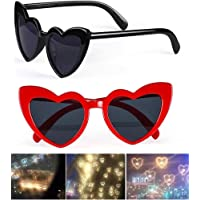2pcs Heart Shaped Love Effects Glasses,fashion Mardi Gras Eyewear For Raves Music Festivals, For special Effect Light…