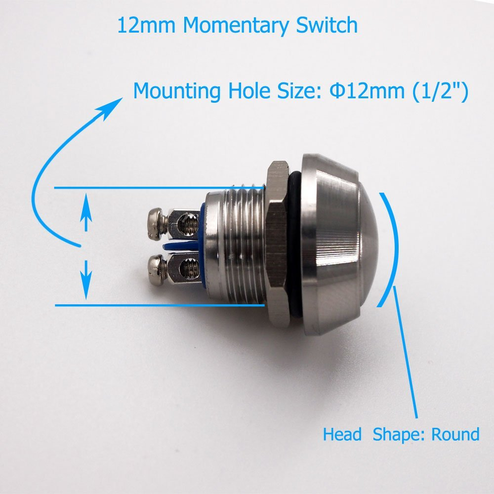Urtone Momentary Push Button Switch Ur123 1no Spst Dc 3a 250v Off On 1 Circuit Car Van Ac 36v 2a Stainless Steel Metal Shell Suitable For 12mm 2 Mounting Hole Silver