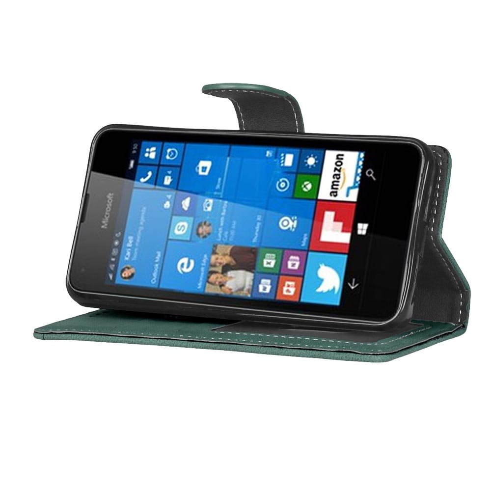 Coque pour Microsoft Lumia 535 Nokia N535 Ecoway Givré Coque// Housse// Case// Couverture// Étui de Protection// Cover// PU Leather Coque Flip Magnétique Portefeuille Etui Housse de Protection Coque Étui Case Cover avec Stand Support Avec des Cartes de Crédit