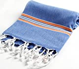 Paradise Series Turkish Bath Towels – Traditional Peshtemal Design for Bathrooms, Beach, Sauna – 100% Natural Cotton, Ultra-Soft, Fast-Drying, Absorbent – Warm, Rich Colors with Stripes Royal/Orange