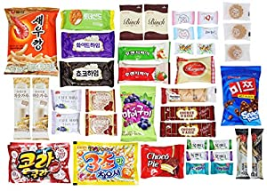Korean Popular Snack, Cookies, Chips and Candies Variety Box (40 Count)