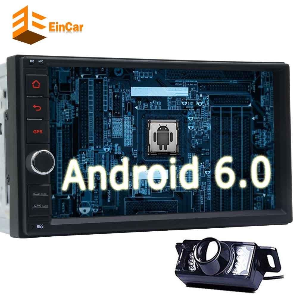リアビューカメラが含まれて! EinCarのAndroid 6.2と6.0のカーステレオ「」静電容量式タッチダッシュGPSナビゲーション車のラジオ受信機でダブルディンを画面なし-DVDサポートのBluetooth OBD2 1080P B0784V7ZLQ