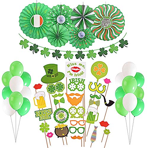 St. Patrick's Day Paper Decorations(Pack of 54) - Paper Fans, Latex Green Balloons, Photo Booth Props and Shamrock decorations Party Favors(St. Patrick's Day Decorations) -