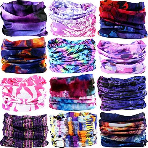 6PCS/9PCS/12PCS Multifunctional 16-in-1 Yoga Sports Fashion Travel Colors Headband Seamless Neck Uv Solid Moisture Wicking Bandana Hair Turban Scarf (12PCS-PURPLE)