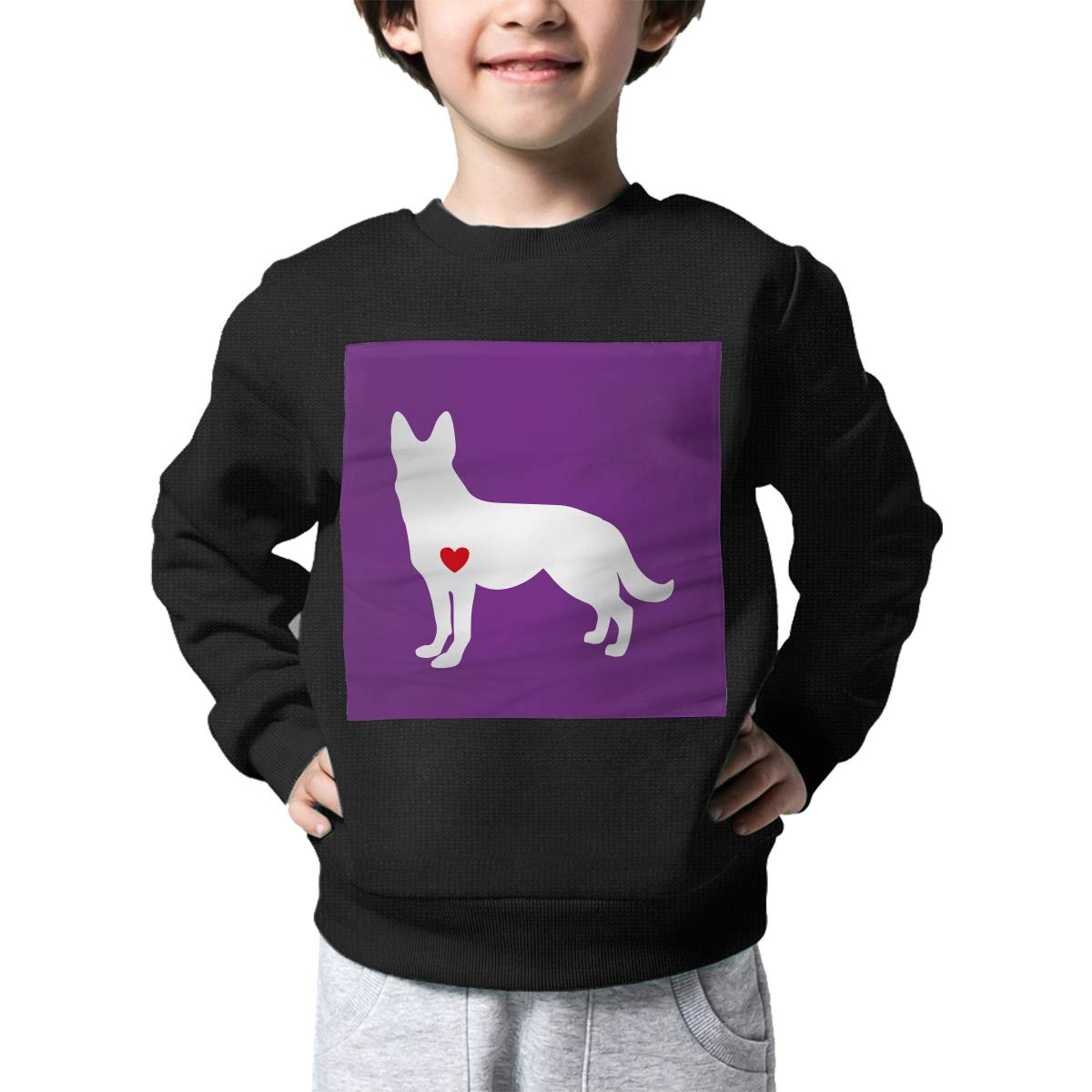 AW-KOCP Childrens German Shepherd with Heart Sweater Kids Outerwear
