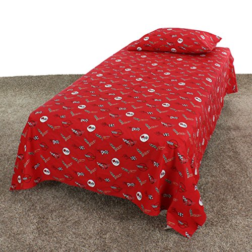 College Covers Corvette Sheet Set, Twin Size, 100% Cotton, Red