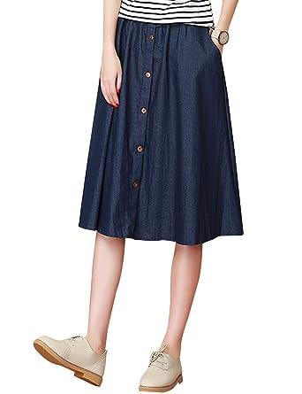 20eaaf1eaf1353 Tanming Women's Elastic Waist Button Front Midi Denim Jean Skirt (X-Small,  Blue