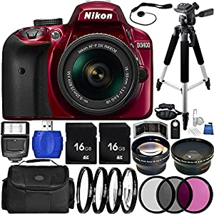 Nikon D3400 DSLR Camera (Red) Bundle with AF-P DX 18-55mm f/3.5-5.6G VR Lens, Carrying Case and Accessory Kit (29 Items)