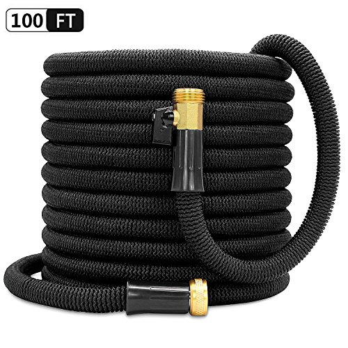 Besiter Expandable Garden Hose-NEW 2018 100ft {UPGRATED} Expanding Hose with 3/4 Heavy Duty Brass Connectors-Lightweight and Kink Free Flexible Water Hose for Lawn Car Washing & Commercial Use (Wall Connector Kit)