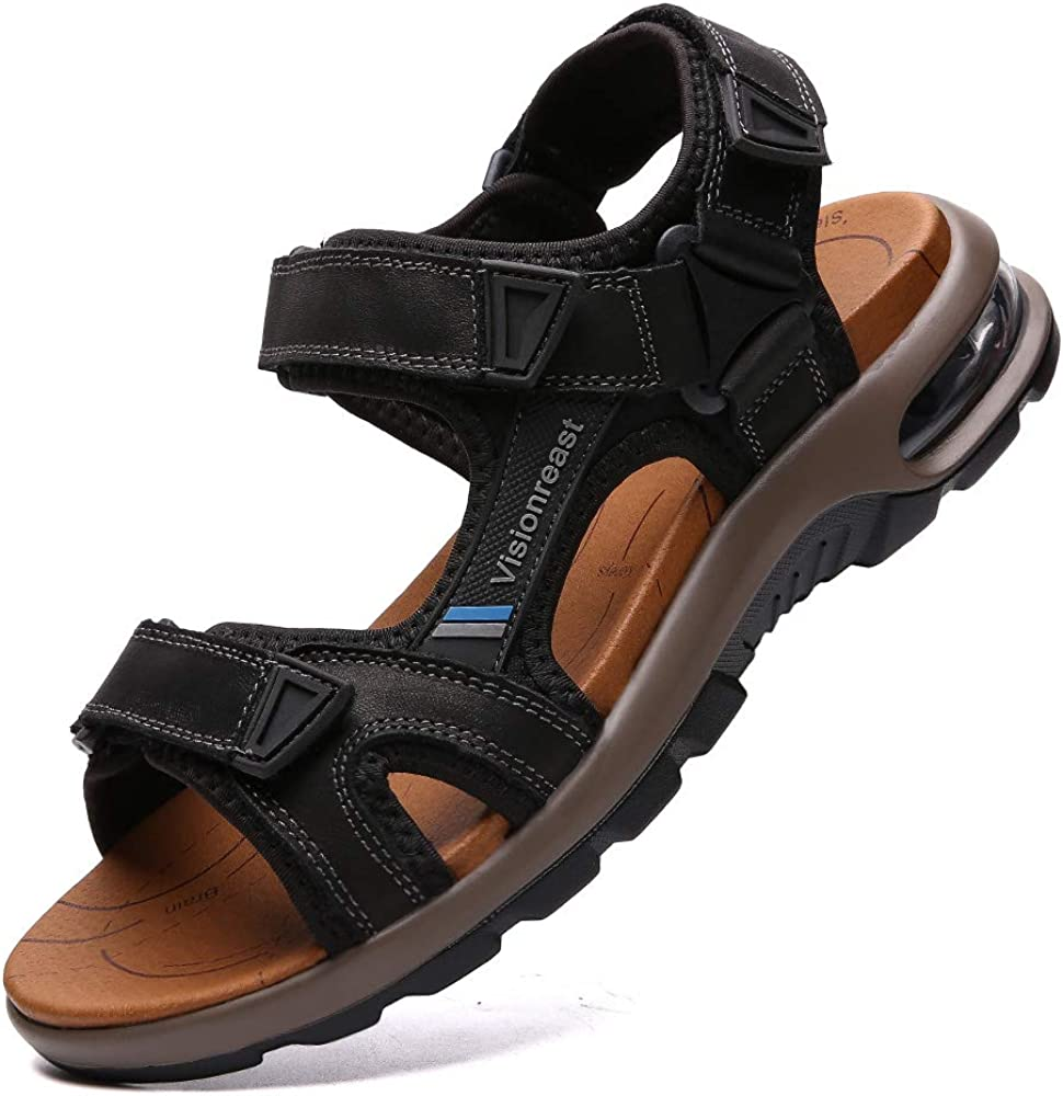 VISIONREAST Mens Leather Sandals Open