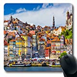 Ahawoso Mousepads for Computers Iberia Oporto Porto Portugal Old Town Skyline Across Parks City Travel Douro Place Street Design Oblong Shape 7.9 x 9.5 Inches Non-Slip Oblong Gaming Mouse Pad