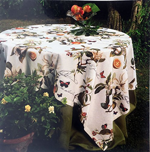 Firenze Italy Fabric Tablecloth Spring Summer Floral Fruit Pattern Red Purple Cream Taupe on White with Oranges and Butterflies 64 Inches x 90 Inches Cream Floral Fruit