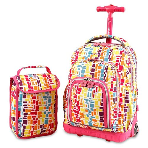 Dh Backpack (Girls Geometric Rainbow Themed Standup Roller Backpack Rolling Flower Suitcase)