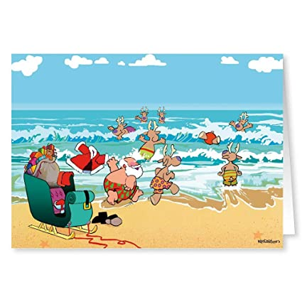 Beach Christmas Cards >> Beach Theme Christmas Card 18 Cards Envelopes