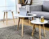 White and Wood Coffee Table Homury Coffee Table Round Set of 3 End Side Table Wood Nesting Corner Table Sofa Table Tea Table,White