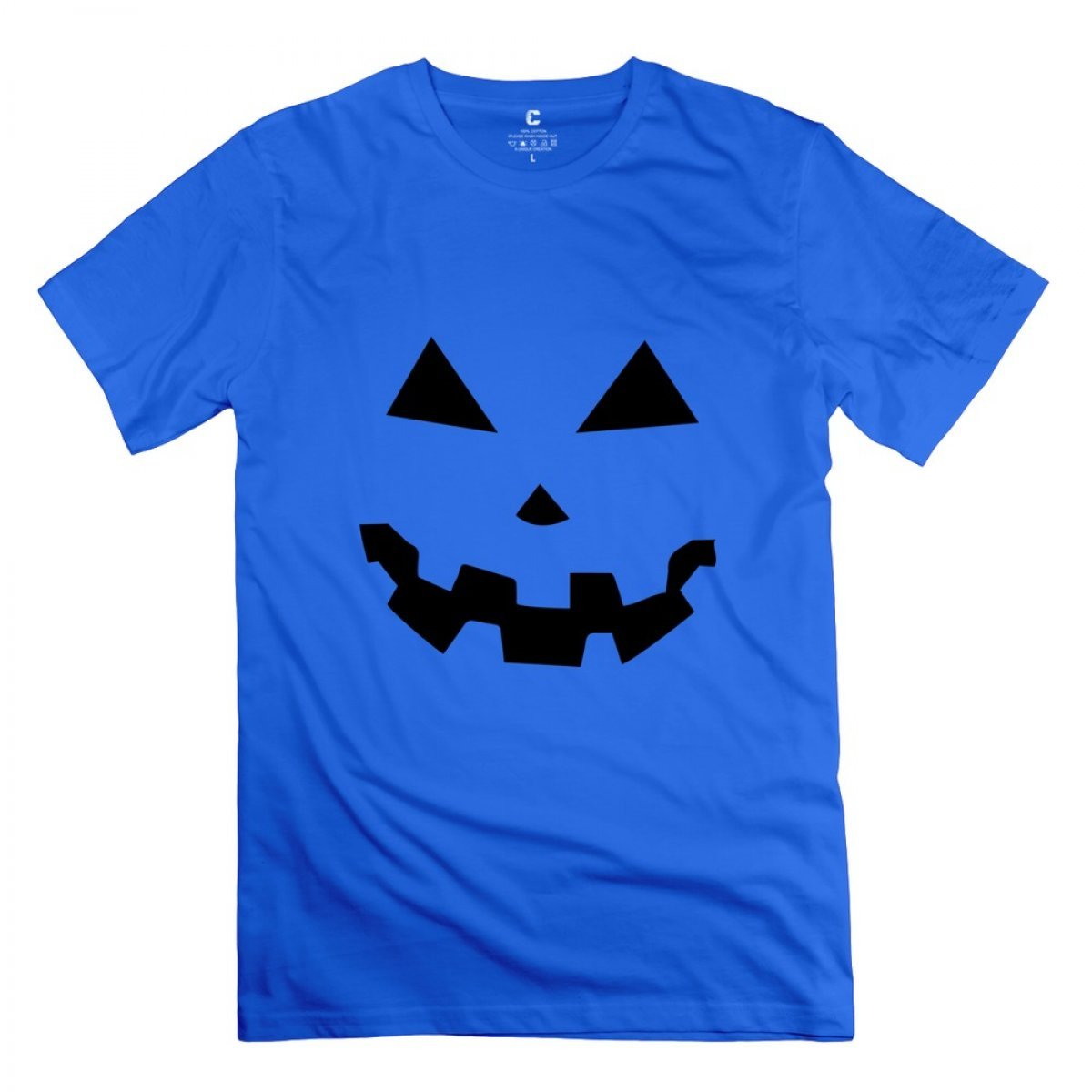 Liaoyang Jackolantern Two Halloween Pumpkins Royal Blue Adult Standard Weight Tshirt For