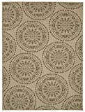 Ottomanson Jardin Collection Medallions Indoor/Outdoor Jute Backing Area Rug X, 5'3″ x 7'3″, Beige For Sale