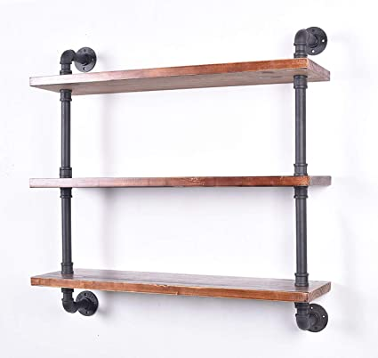 LOKKHAN 31.5-Inch Industrial Pipe Shelves,Wall Mounted Metal Pipe Wood  Shelf,Rustic Pipe Ladder Bookshelf Bookcase,DIY Open Pipe Shelving (3 Tier)
