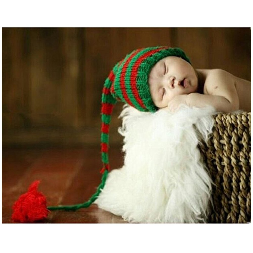 neonato fotografia puntelli Boy Girl crochet costume Outfits Christmas Long Tail Hat Binlunnu