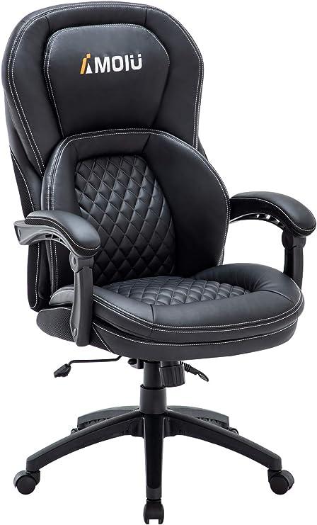 Fauteuil de Bureau Ergonomique, Chaise Bureau Pivotante pour Ordinateur Chaise de Bureau en Similicuir avec Grande Assise Rembourrée Accoudoirs